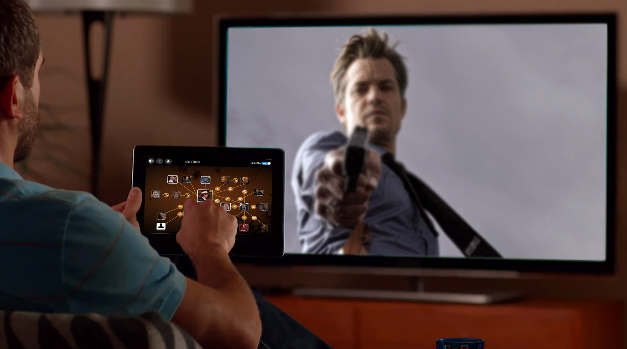 The iPad displays a map of the relationships among the many characters, grouping them geographically as they appear in the story without any spoiler revelations.