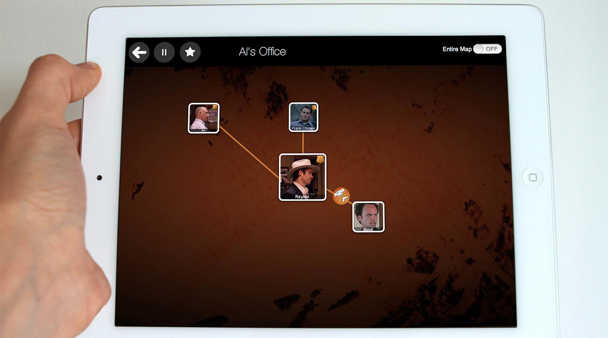 Using the affordances of the digital medium we can create navigation patterns and auxiliary information streams to minimize confusion and maximize immersion in the story world. In our application, the iPad is used as a secondary screen to create a character map synchronized with the TV content, and to support navigation of story threads across episodes.